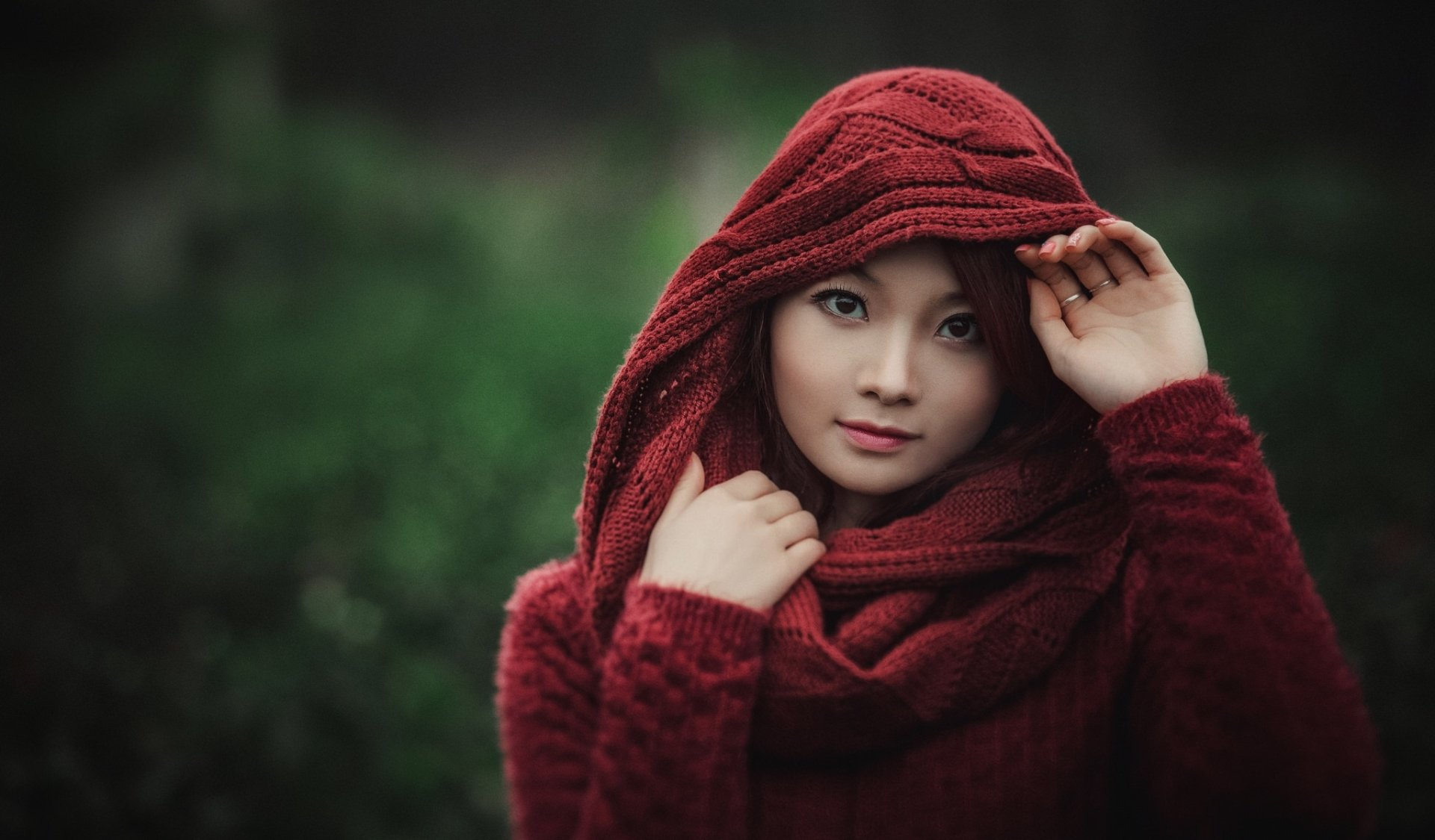Women - Asian  Woman Model Girl Brown Eyes Scarf Depth Of Field Wallpaper