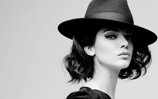 Celebrity Kendall Jenner Models United States Brunette Black & White Hat HD Wallpaper   Background Image