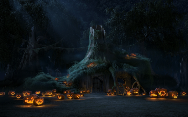 Holiday Halloween House Cottage Jack-O'-Lantern Forest Light HD Wallpaper | Background Image