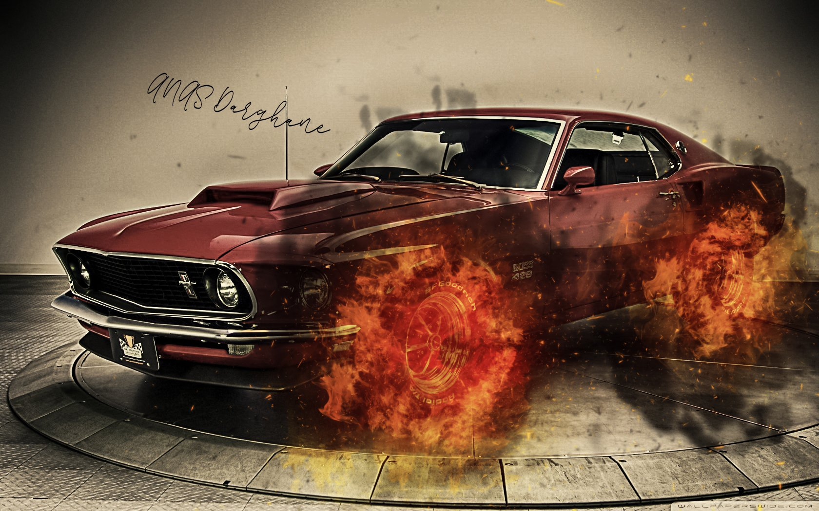 Ford Mustang Fire Wallpaper And Background Image 1680x1050 Id