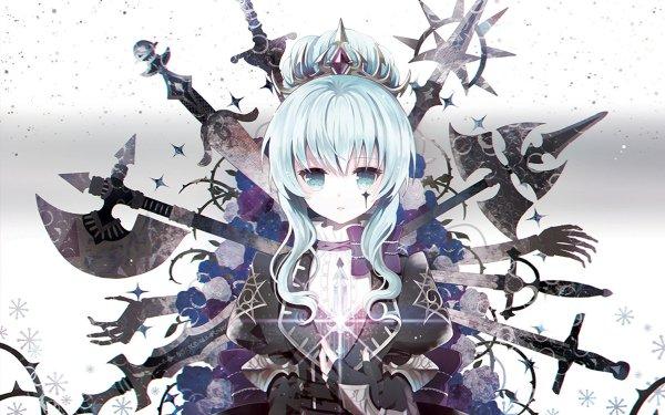 Anime Original Aqua Hair Aqua Eyes Weapon Sword Axe Blade Crown HD Wallpaper | Background Image