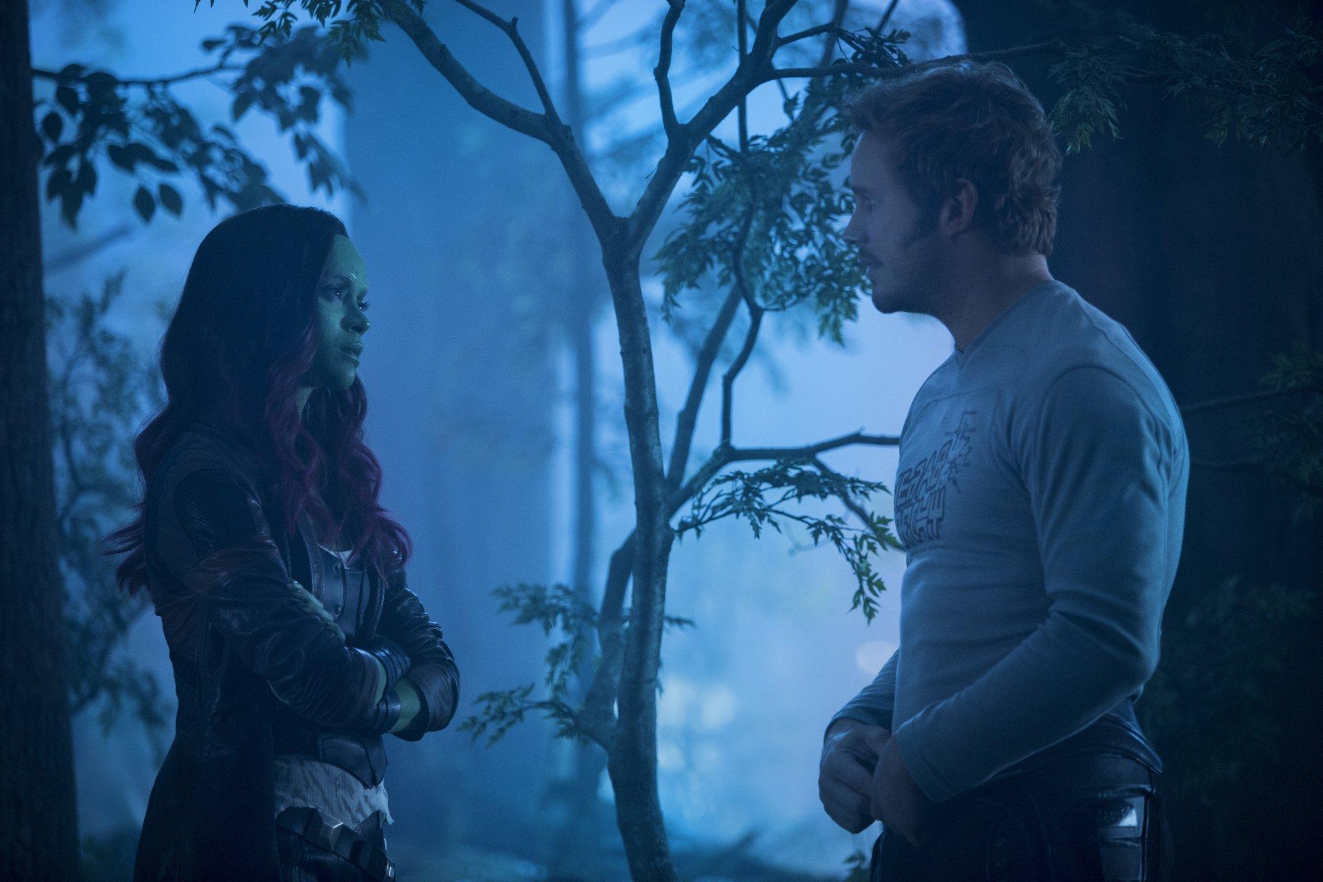 Movie - Guardians of the Galaxy Vol. 2  Zoe Saldana Gamora Star Lord Chris Pratt Wallpaper