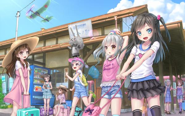 Anime Kantai Collection Arare Arashio Asagumo Asashio Kasumi Michishio Ooshio Rensouhou-chan Yamagumo HD Wallpaper | Background Image