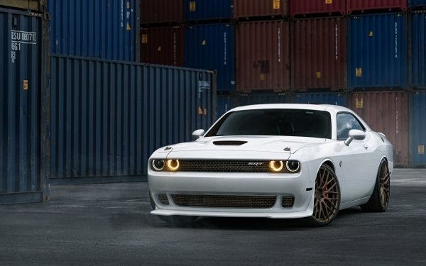Vehicles Dodge Challenger SRT Dodge White Car Muscle Car Container HD Wallpaper | Background Image