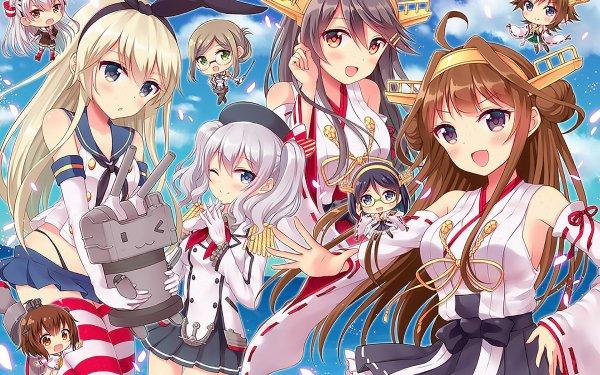 Anime Kantai Collection Amatsukaze Shimakaze Yukikaze Kashima Kongou Haruna Hiei Katori Kirishima Rensouhou-chan HD Wallpaper | Background Image