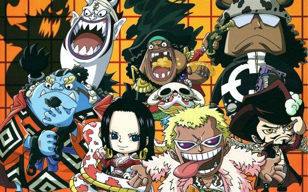 Anime One Piece Boa Hancock Donquixote Doflamingo Dracule Mihawk Bartholomew Kuma Marshall D. Teach Jinbe HD Wallpaper | Background Image