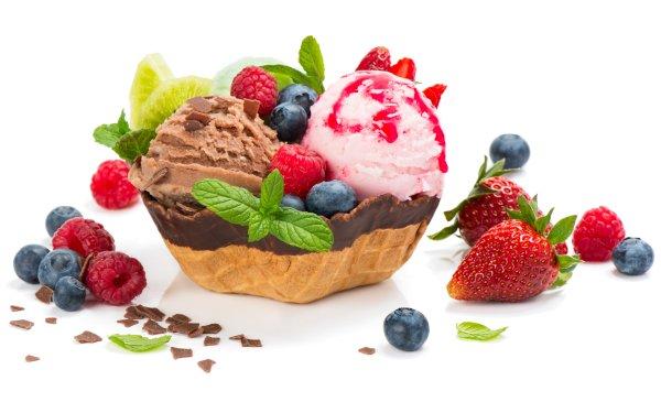 Alimento Helado Dulces Fruta Baya Gofre Fresa Arándano Frambuesa Fondo de pantalla HD | Fondo de Escritorio
