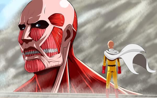 Anime Crossover Saitama One-Punch Man Ataque a los titanes Colossal Titan Fondo de pantalla HD | Fondo de Escritorio
