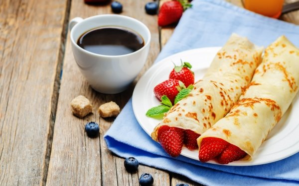 Food Breakfast Still Life Coffee Cup Crêpe Fruit Berry Blueberry Strawberry HD Wallpaper | Background Image