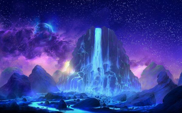 Fantasy Waterfall Purple Mountain Cloud Sky Stars HD Wallpaper | Background Image