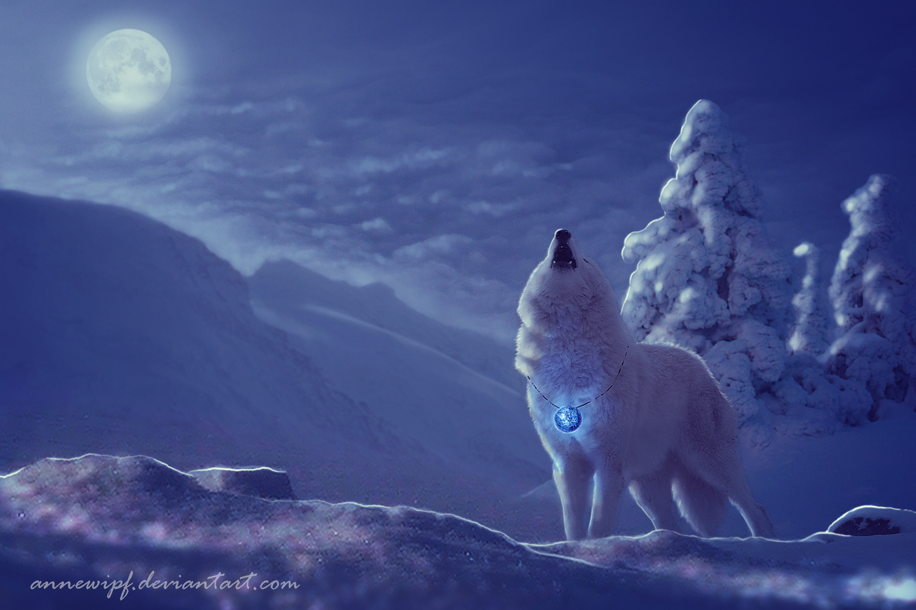 Wolf on Full Moon Winter Night Full HD Wallpaper and ...