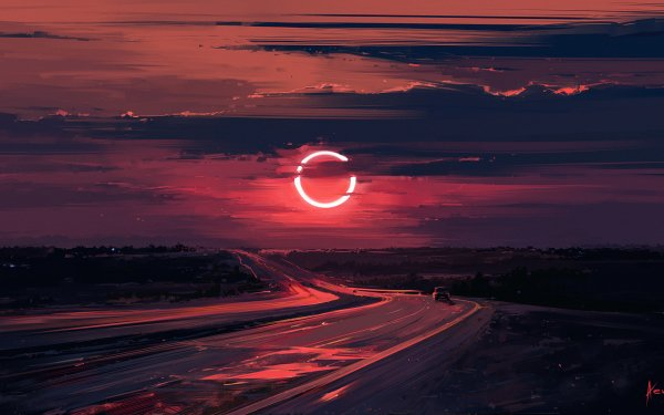 Fantasy Moon Eclipse Evening Cloud Road HD Wallpaper | Background Image