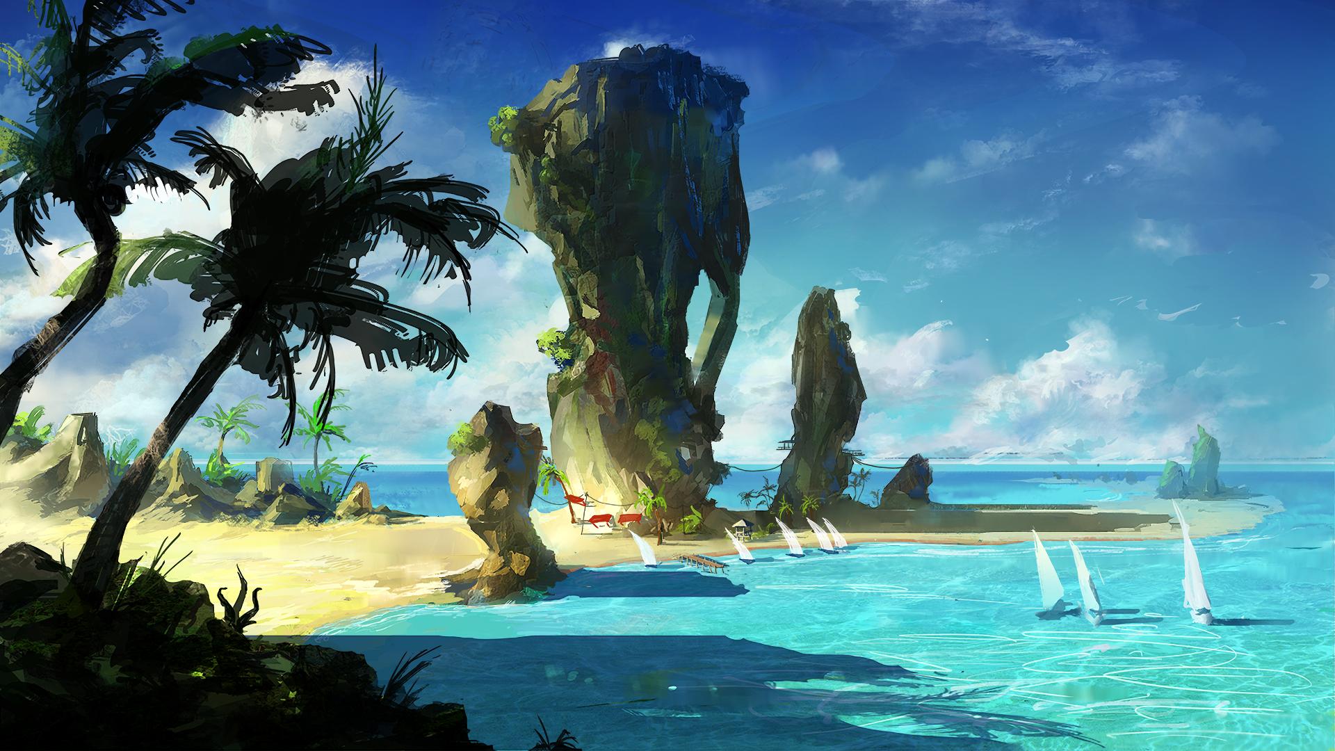 Anime - Original  Scenic Ocean Beach Boat Horizon Palm Tree Sky Rock Wallpaper