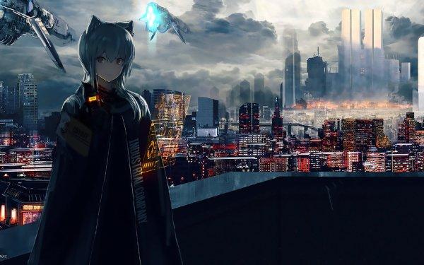 Anime Original Cloak Sci Fi Nekomimi Drone City Building Cloud HD Wallpaper | Background Image