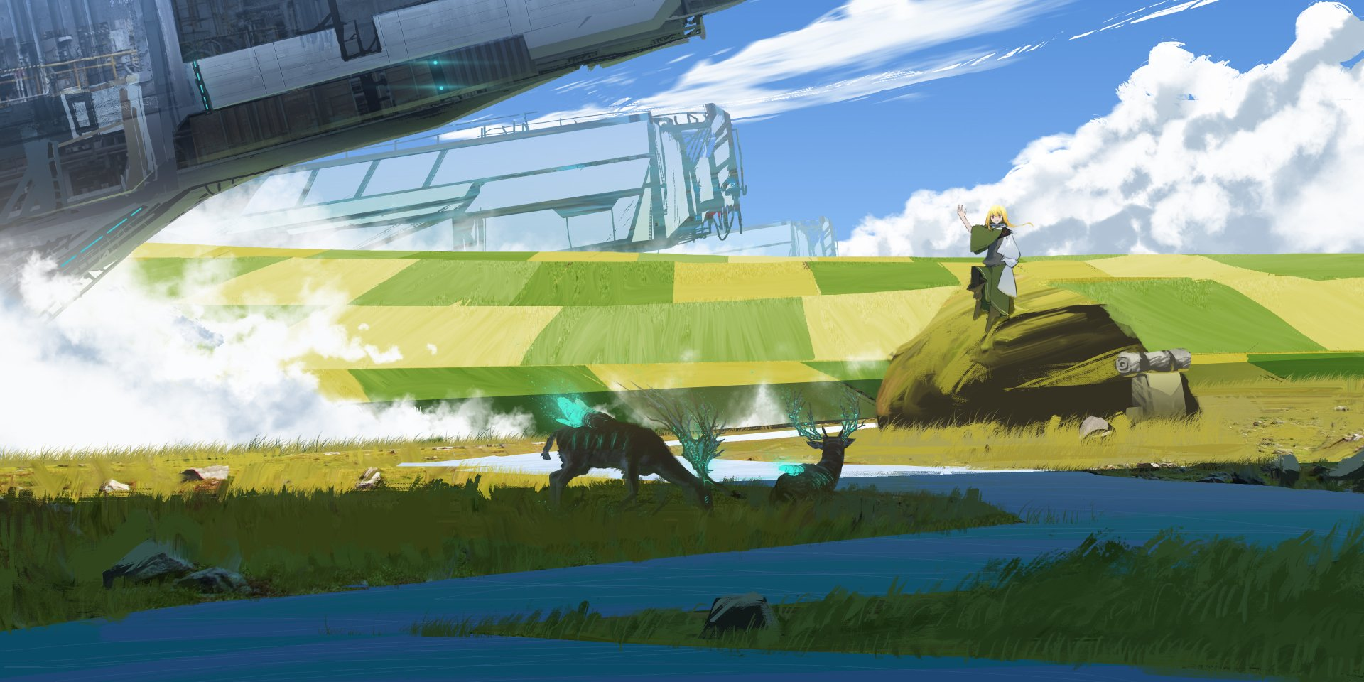 Anime - Original  Girl Blonde Animal Field Sci Fi Sky Cloud Wallpaper
