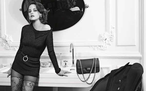 Celebrity Kristen Stewart Actresses United States Monochrome Black & White Actress American Mirror HD Wallpaper | Background Image