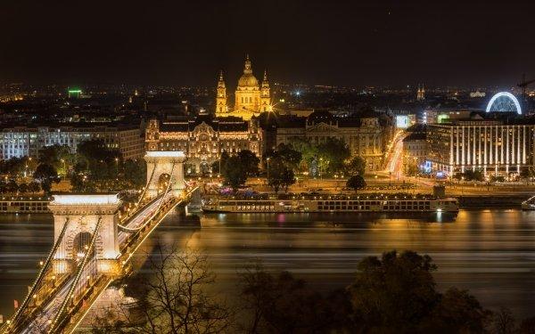 Man Made Chain Bridge Bridges Bridge Hungary Budapest River Night Building City HD Wallpaper | Background Image