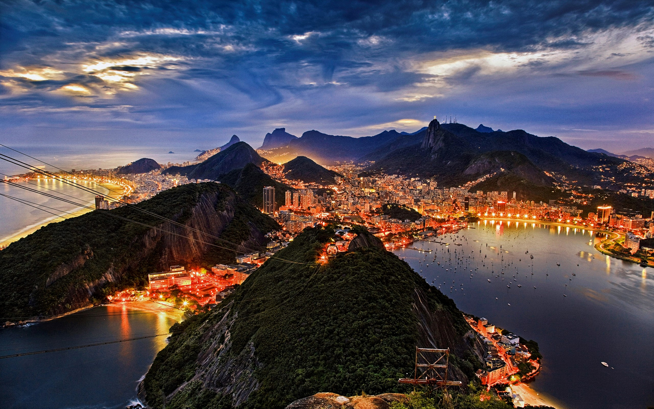 Rio De Janeiro At Night Hd Wallpaper Background Image