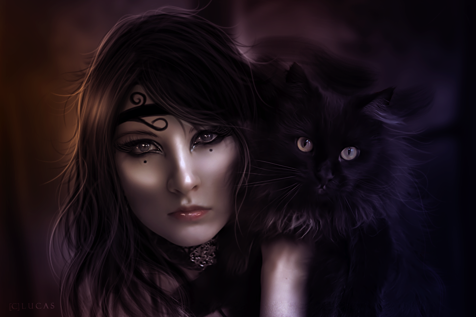 Fantasy Woman With Black Cat Hd Wallpaper Background Image
