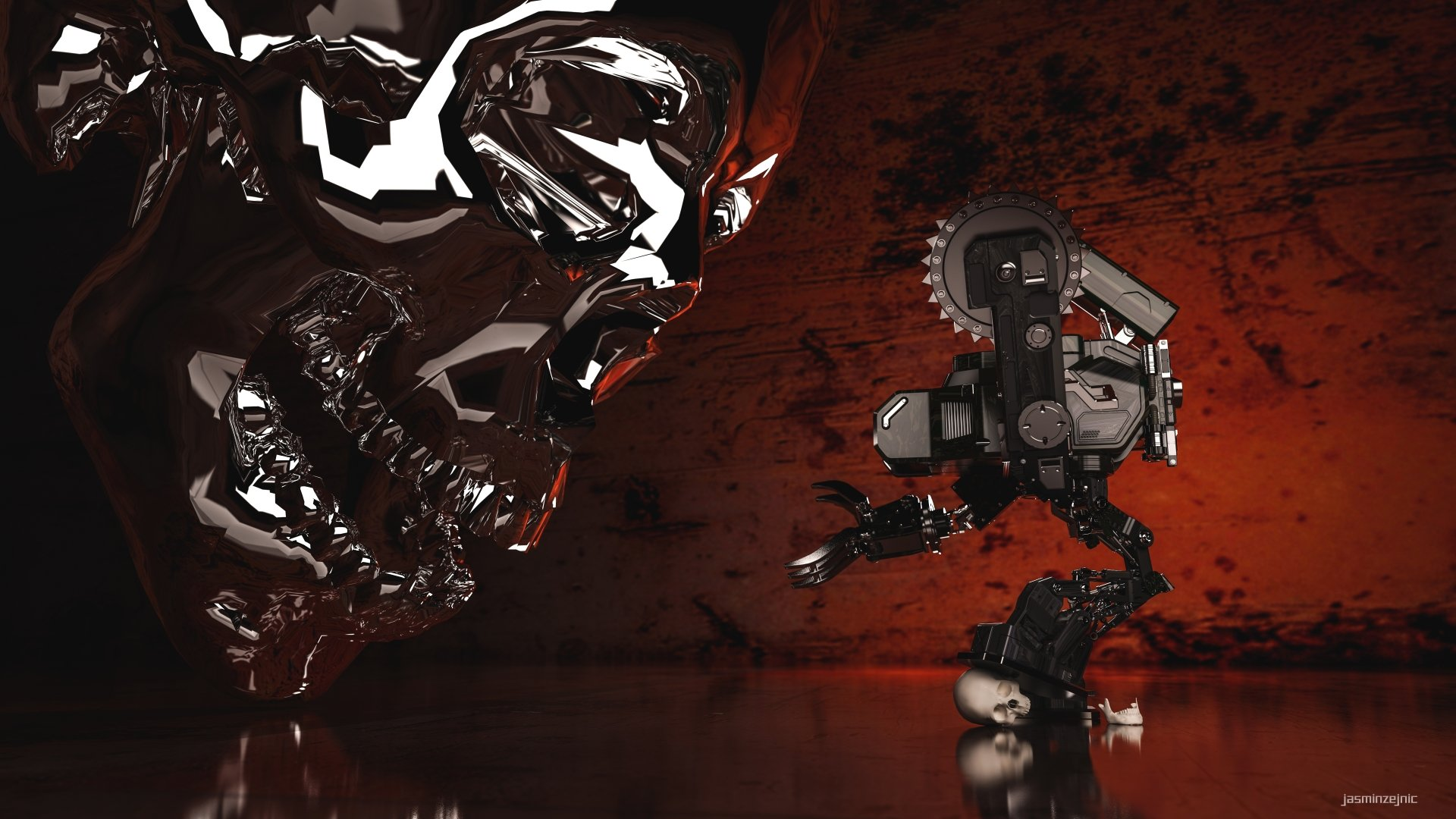 Sci Fi - Robot  3D CGI Digital High Tech Machine Skull Digital Art Sci Fi Wallpaper