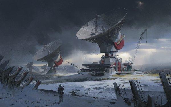 Sci Fi Building Buildings Radar Snow Landscape HD Wallpaper   Background Image