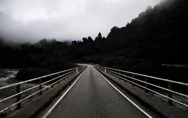 Man Made Road Black & White Fence Tree Fog HD Wallpaper | Background Image
