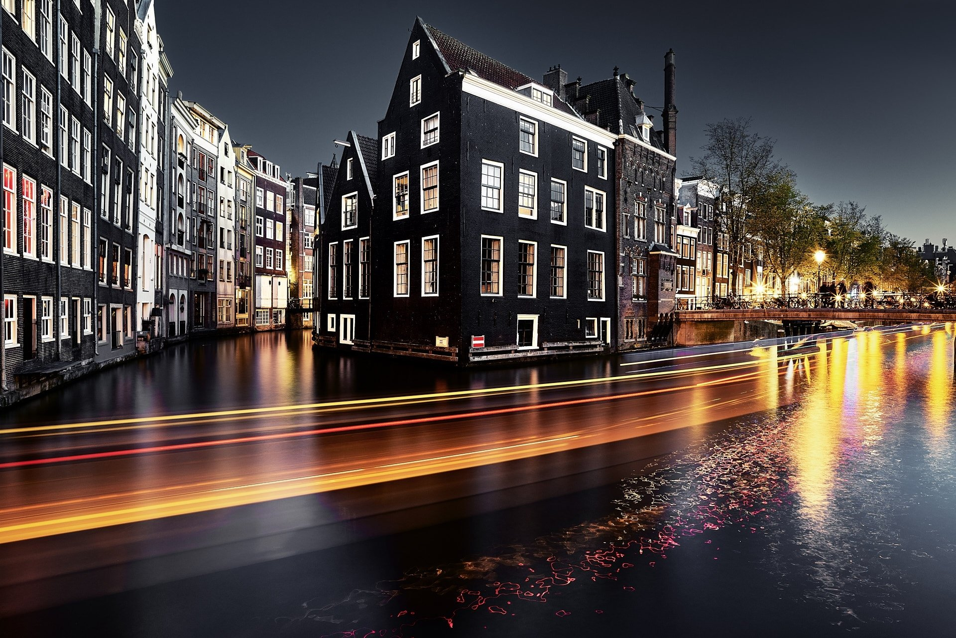 Man Made - Amsterdam  City Night Time-Lapse Building House Canal Netherlands Wallpaper