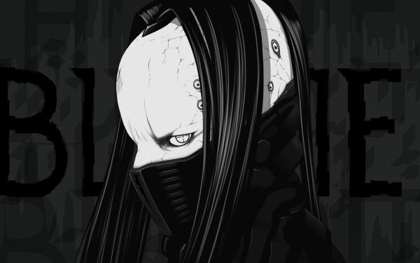Anime Blame! Boy Black & White Dark Long Hair Mask HD Wallpaper | Background Image
