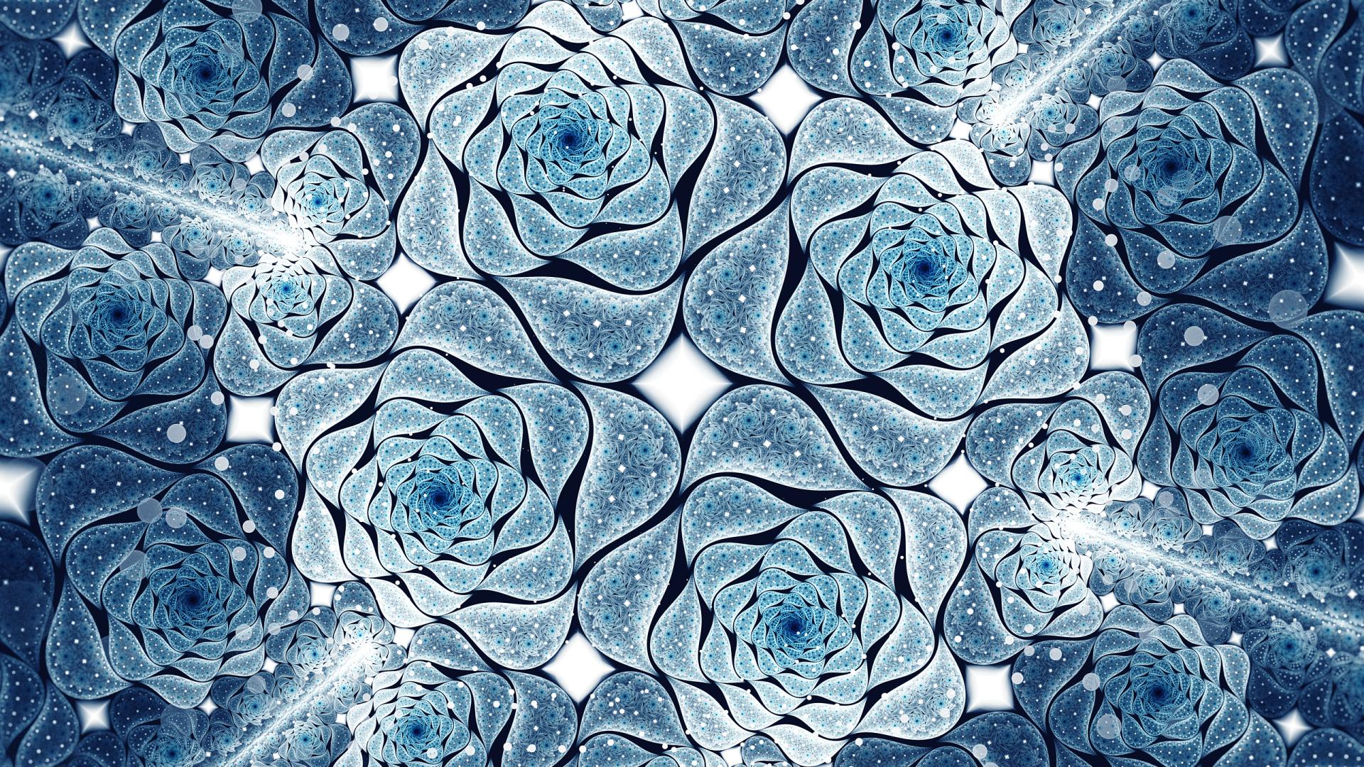 Abstract - Fractal  Flower Artistic Blue Pattern Wallpaper