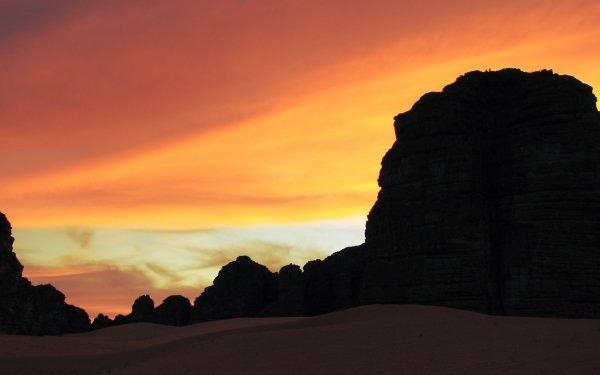 Earth Desert Tassili N'Ajjer Algeria Hoggar Mountains Africa Rock Sand Sahara Sunset Cloud HD Wallpaper | Background Image