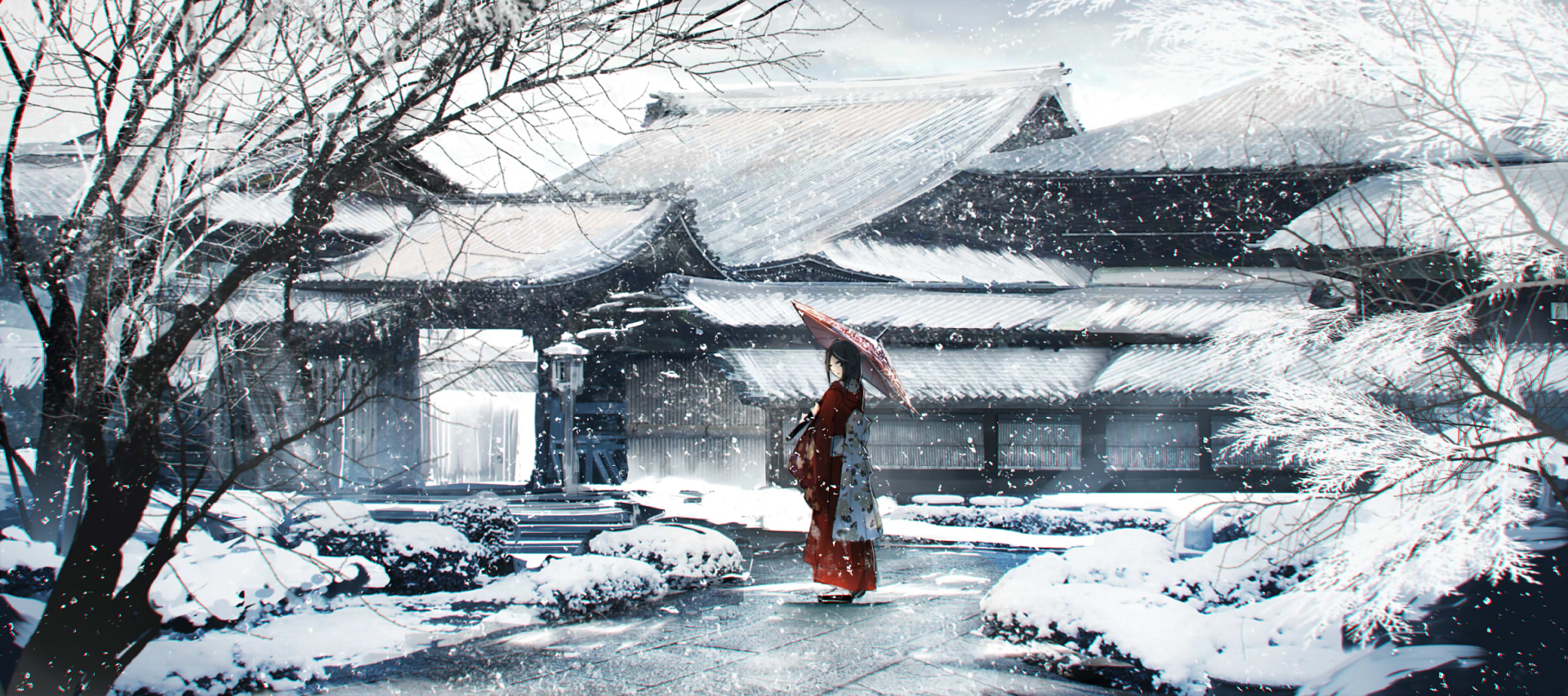 Anime - Original  Cold Winter Snow Umbrella Tree House Girl Wallpaper