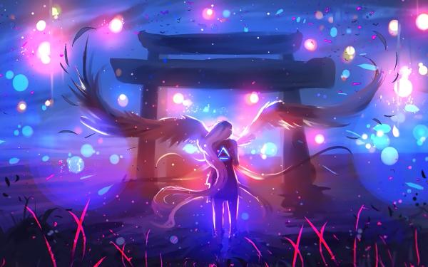 Anime Original Torii Angel Wings Light Fantasy HD Wallpaper | Background Image