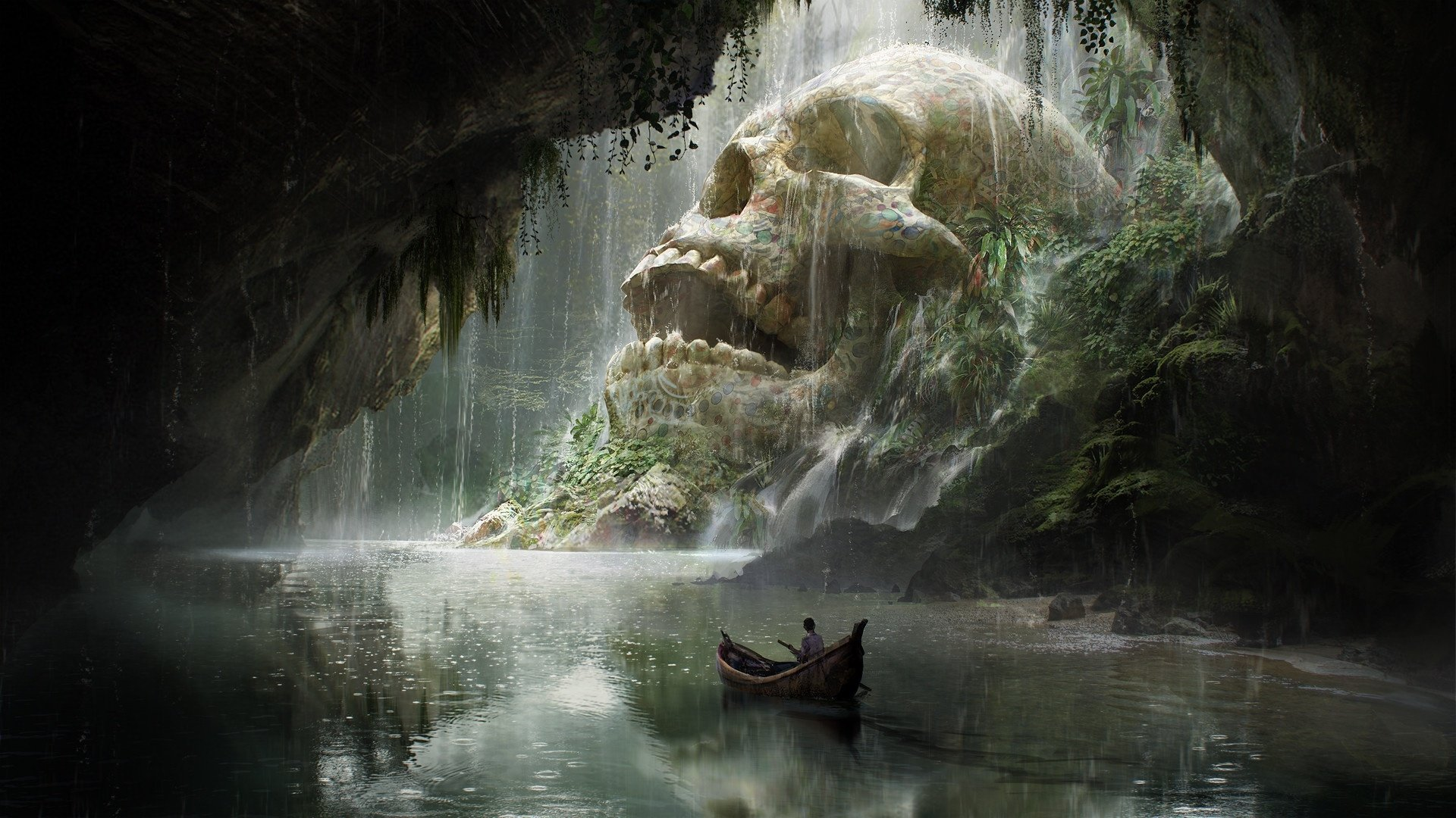 Fantasy - Cave  Boat Skull Waterfall River Adventure Wallpaper