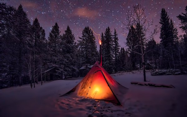 Photography Winter Snow Night Tent Light Camping Forest Starry Sky Stars HD Wallpaper | Background Image