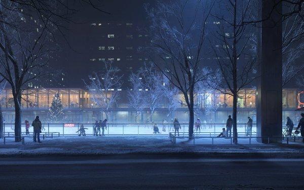 Anime Original Night Tree Winter HD Wallpaper | Background Image