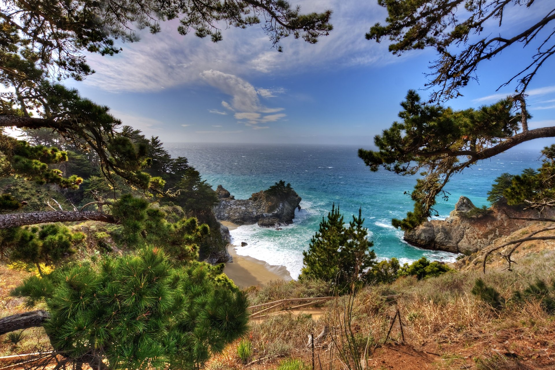 Earth - Coastline  Big Sur Sea Mountain Julia Pfeiffer Burns State Park McWay Falls Rock Earth Coast California Horizon Ocean Tree Wallpaper