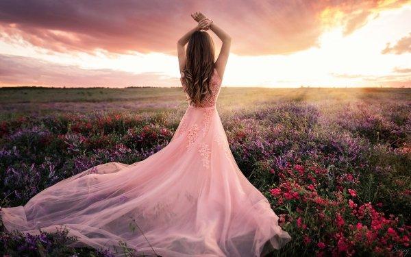 Women Mood Woman Field Flower Pink Dress Rear HD Wallpaper | Background Image