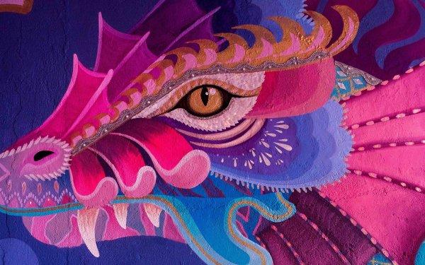 Fantasy Dragon Mural Graffiti HD Wallpaper   Background Image