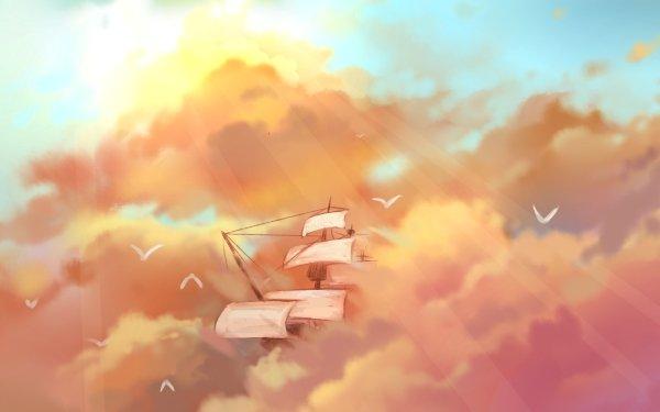 Fantasy Ship Sky Sunbeam Cloud HD Wallpaper   Background Image