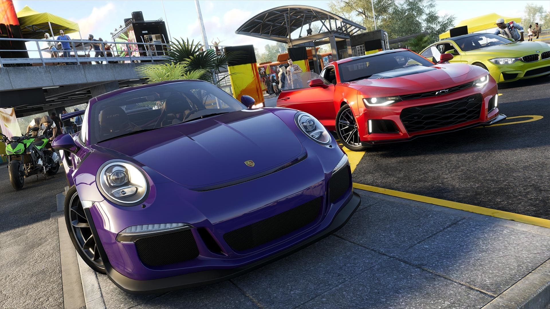 Video Game - The Crew 2  Porsche Chevrolet Camaro BMW Porsche 911 Chevrolet Camaro ZL1 BMW M4 Purple Car Red Car Yellow Car Car Sport Car Wallpaper