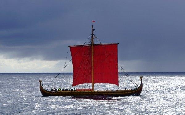 Vehicles Viking ship Viking Ship Sailing Ocean HD Wallpaper | Background Image