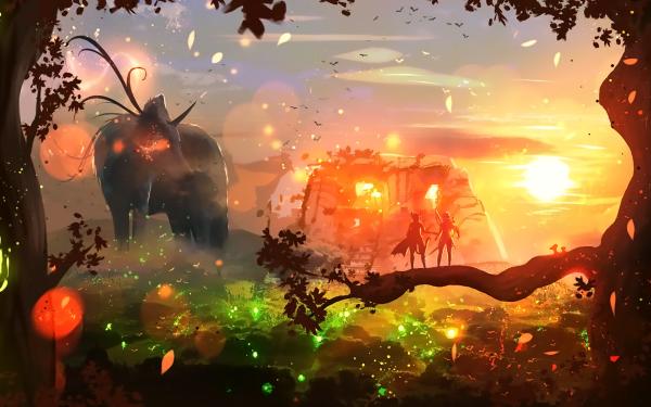Anime Original Tree Fantasy Sun HD Wallpaper   Background Image