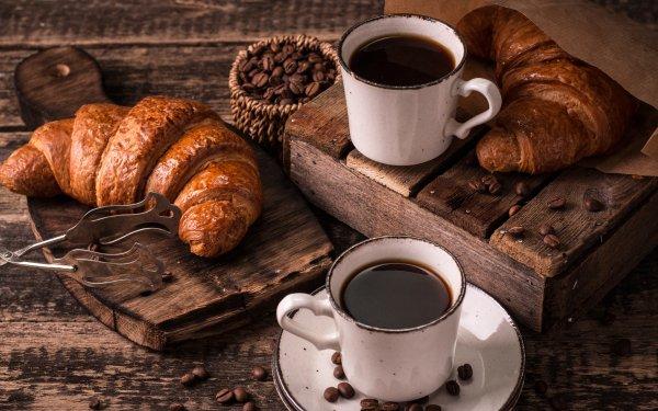 Alimento Desayuno Café Cup Croissant Coffee Beans Viennoiserie Bodegón Fondo de pantalla HD | Fondo de Escritorio
