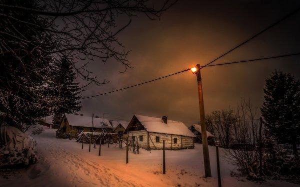Fotografía Invierno Casa Street Light Noche Snow Fondo de pantalla HD | Fondo de Escritorio
