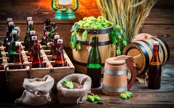 Photography Still Life Bottle Barrel Beer Alcohol Hop HD Wallpaper | Background Image
