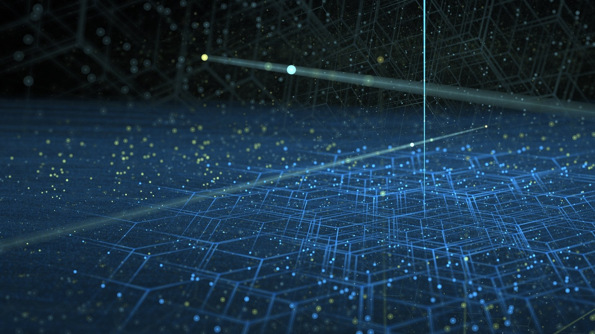 Abstract - Geometry  Apophysis (software) Hexagon Glow Blue Wallpaper