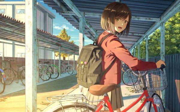 Anime Original Girl Bike Short Hair Schoolgirl School Uniform Sunlight HD Wallpaper | Background Image