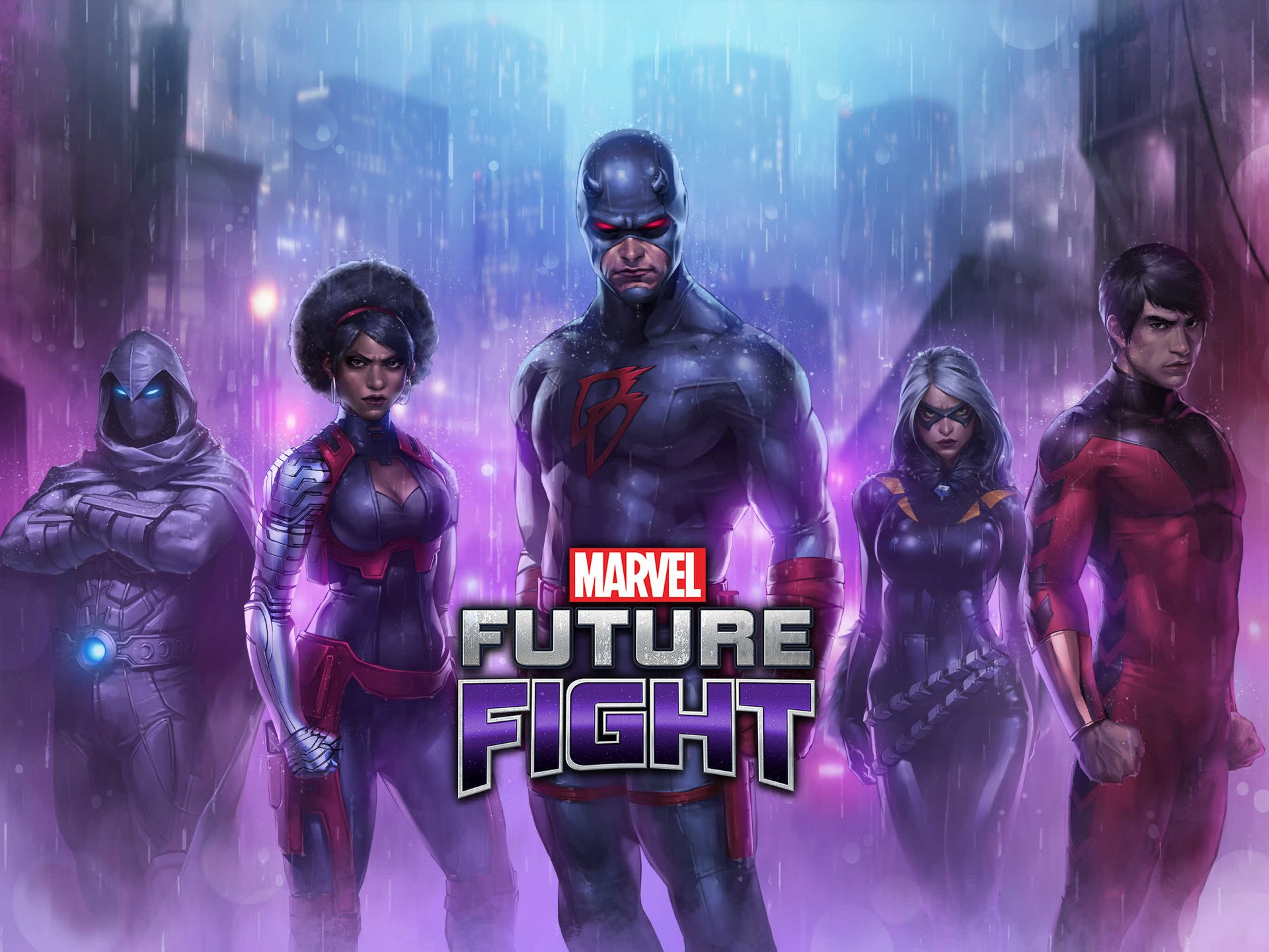 Video Game - MARVEL Future Fight  Daredevil Misty Knight Shang-Chi Moon Knight Black Cat (Marvel Comics) Wallpaper