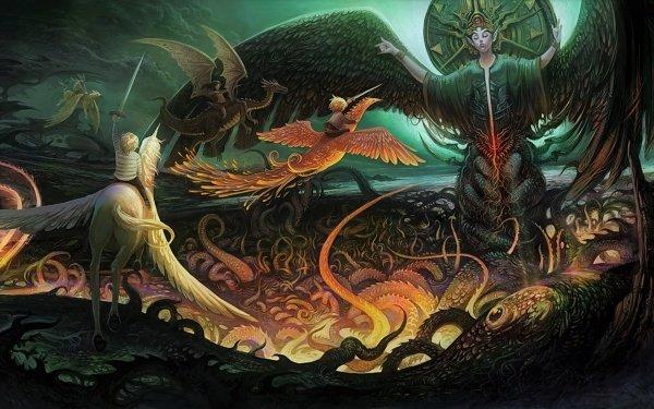 Artistic Fantasy Unicorn Dragon Phoenix Child Angel HD Wallpaper   Background Image