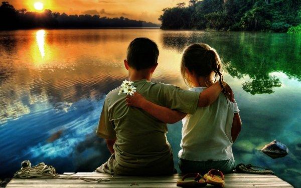 Photography Child Daisy Sunset Lake Friend Love Reflection Water HD Wallpaper | Background Image